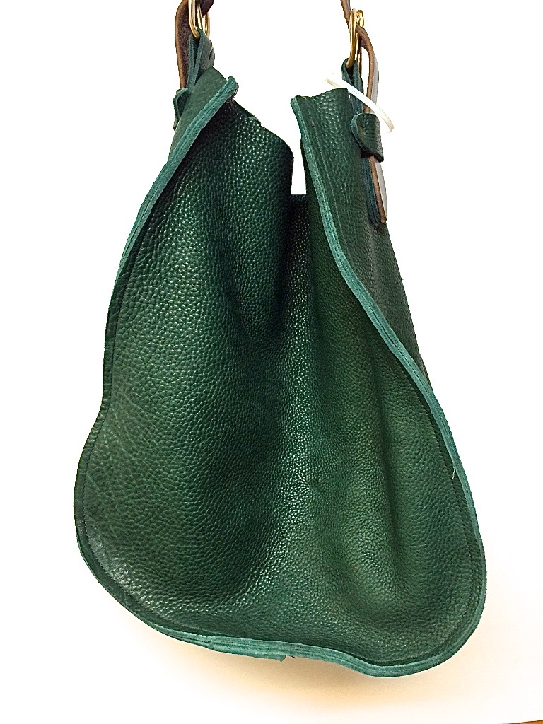 "Big sling in green with dk.brown closure  13""w.x 16""h."