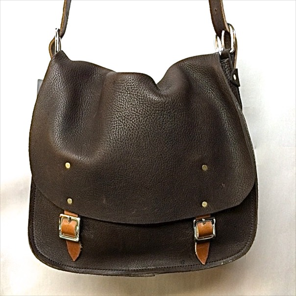 Messenger bag in dark brown, two buckles $225