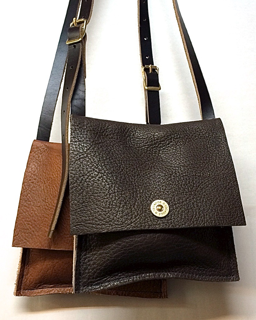 Small pouches in dark brown and tobacco $75